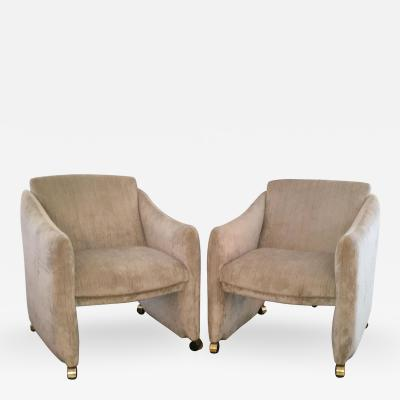 Milo Baughman Pair of Mid Century Modern Velvet Lounge Chairs on Brass Casters