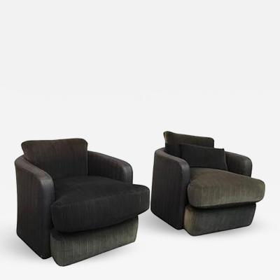 Milo Baughman Pair of Milo Baughman Barrel Back Swivel Chairs