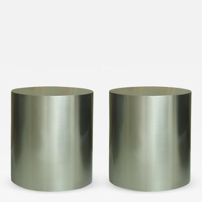 Milo Baughman Pair of Milo Baughman Brushed Steel Round Occasional Tables