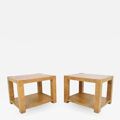 Milo Baughman Pair of Milo Baughman Burl Wood End Tables or Nightstands