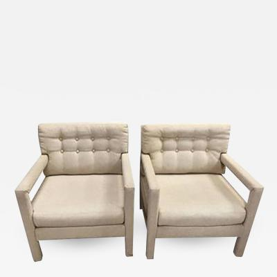 Milo Baughman Pair of Milo Baughman Button Tufted Lounge Chair or Armchairs