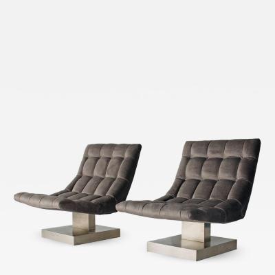Milo Baughman Pair of Milo Baughman Cantilevered Lounge Chairs