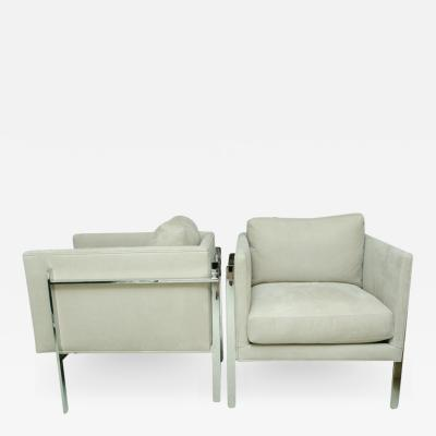 Milo Baughman Pair of Milo Baughman Chrome Arm Chairs with Leather Suede Upholstery