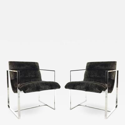 Milo Baughman Pair Of Milo Baughman Chrome Cube Scoop Chairs