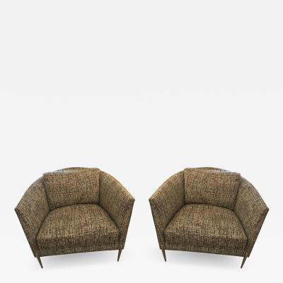 Milo Baughman Pair of Milo Baughman Club Chairs Upholstered in a Black and White Tweed