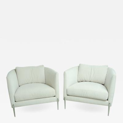 Milo Baughman Pair of Milo Baughman Club Chairs with Stainless Steel Legs