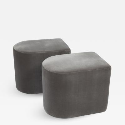 Milo Baughman Pair of Milo Baughman D shaped Stools on Casters 1983