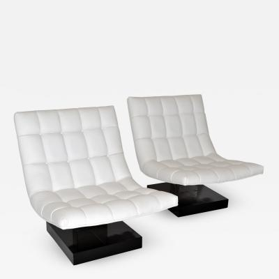 Milo Baughman Pair of Milo Baughman Leather Scoop Lounge Chairs for Thayer Coggin 1980s