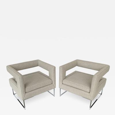 Milo Baughman Pair of Milo Baughman Open Back Lounge Chairs