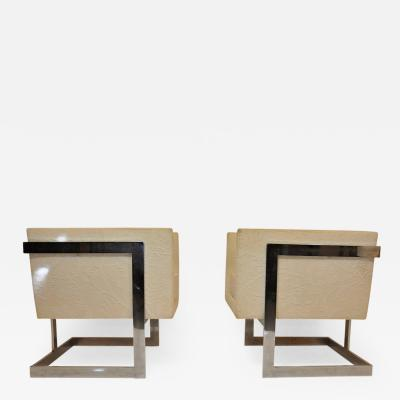 Milo Baughman Pair of Milo Baughman Petit Cube Chairs
