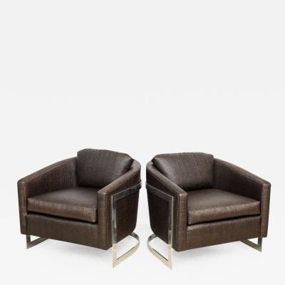 Milo Baughman Pair of Milo Baughman Polished Chrome and Ostrich Upholstered Chairs