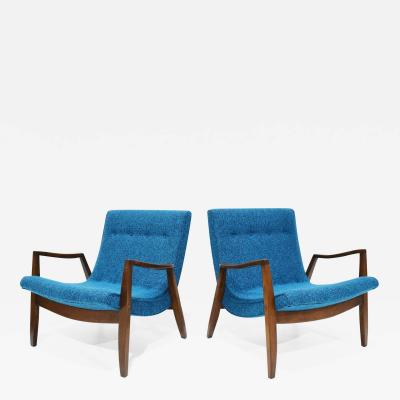 Milo Baughman Pair of Milo Baughman Scoop Lounge Chairs in Knoll Upholstery