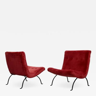 Milo Baughman Pair of Milo Baughman Scoop Lounge Chairs in Missoni Velvet and Wrought Iron