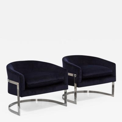 Milo Baughman Pair of Milo Baughman Steel Framed Tub Armchairs 1970s