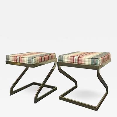 Milo Baughman Pair of Milo Baughman Stools or Benches with Polished Brass Bases