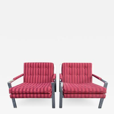 Milo Baughman Pair of Milo Baughman Style Chrome Flat Bar Lounge Chairs Mid Century Modern
