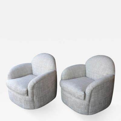 Milo Baughman Pair of Milo Baughman Swivel Armchairs