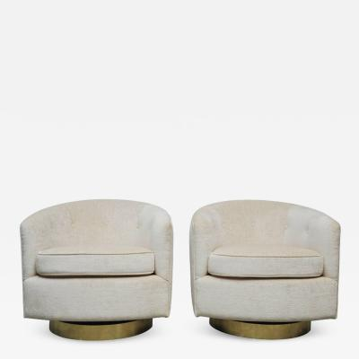 Milo Baughman Pair of Milo Baughman Swivel Chairs on Brass Bases