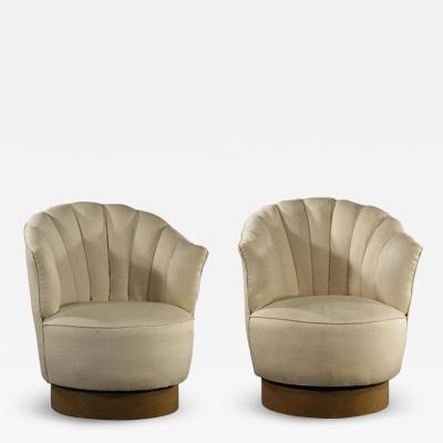 Milo Baughman Pair of Milo Baughman Swivel Lounge Chairs