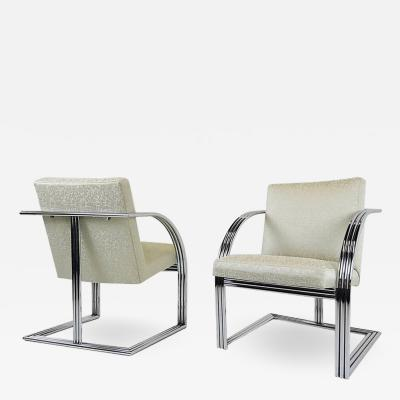 Milo Baughman Pair of Milo Baughman T Back Deco Style Armchairs