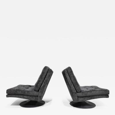 Milo Baughman Pair of Milo Baughman Tilt Swivel Chairs in Holly Hunt Outdoor Upholstery