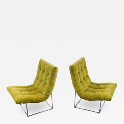 Milo Baughman Pair of Milo Baughman for Thayer Coggin Scoop Lounge Chairs