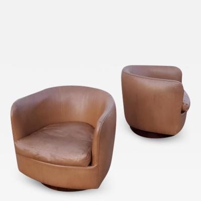Milo Baughman Pair of Milo Baughman for Thayer Coggin Tilt Swivel Lounge Chairs