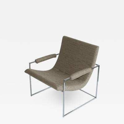 Milo Baughman Pair of Petite Milo Baughman Chrome Lounge Chairs
