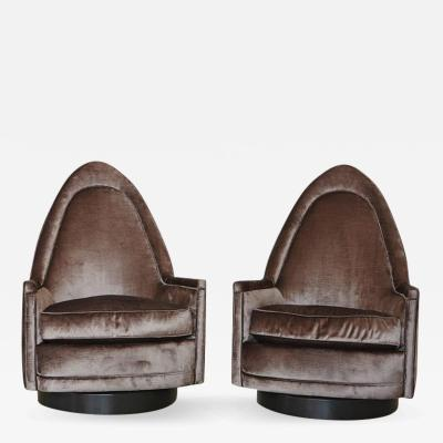 Milo Baughman Pair of Petite Sculptural Memory Swivel Chairs in Grey Velvet by Milo Baughman