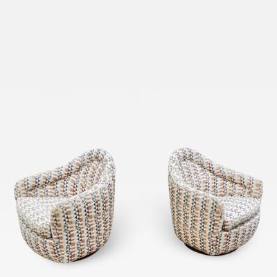 Milo Baughman Pair of Rocking Swivel Chairs by Milo Baughman