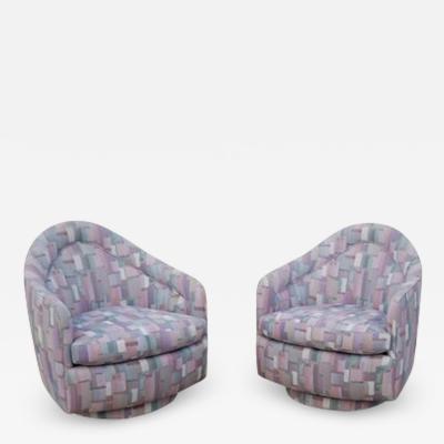 Milo Baughman Pair of Rocking Swivel Lounge Chairs by Milo Baughman