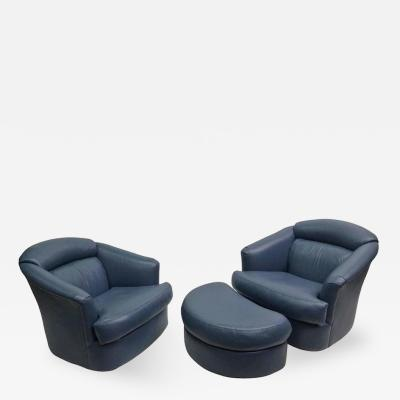 Milo Baughman Pair of Swivel Chairs and Ottoman by Milo Baughman for Directional