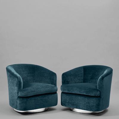 Milo Baughman Pair of Swivel Velvet Chairs Milo Baughman USA c 1970s