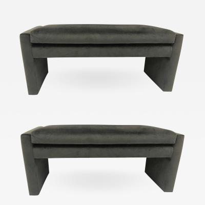 Milo Baughman Pair of Upholstered Benches style of Milo Baughman