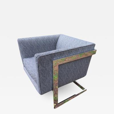 Milo Baughman Petite Milo Baughman Chrome Cube Lounge Chair Mid Century Modern