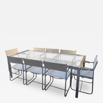 Milo Baughman Polished Chrome Glass Extension Table with Eight Armchairs