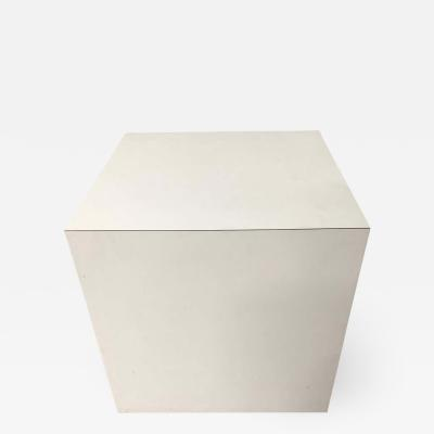 Milo Baughman Postmodern White Laminate Cube Side End or Occasional Table