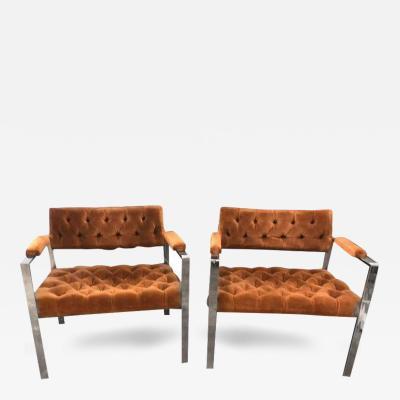 Milo Baughman Pr of Mid Century Modern Chrome Velvet Tufted Art or Lounge Chairs