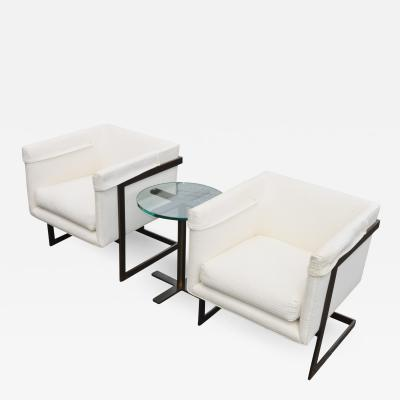Milo Baughman Quality Pair of Milo Baughman Cube T Back Lounge Chairs Table