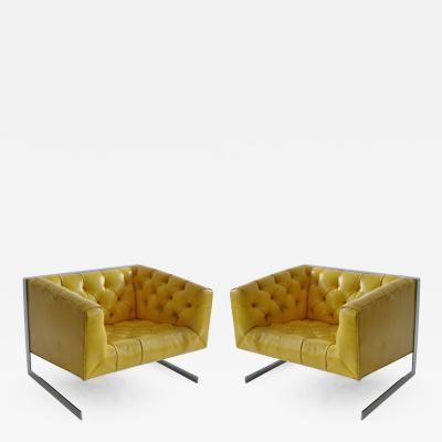 Milo Baughman Rare Milo Baughman Cantilevered Lounge Chairs