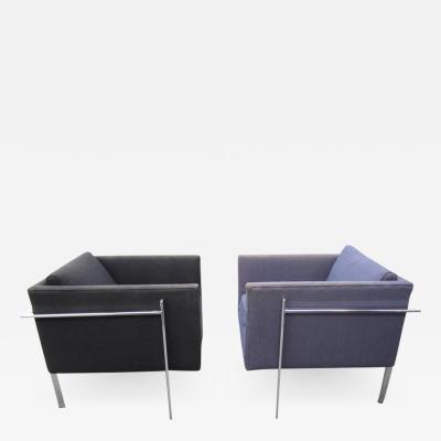 Milo Baughman Rare Pair of Milo Baughman Solid Flat Bar Chrome Cube Chairs Mid Century Modern