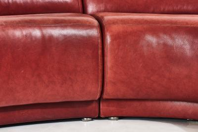 Milo Baughman Red Leather Sectional Sofa