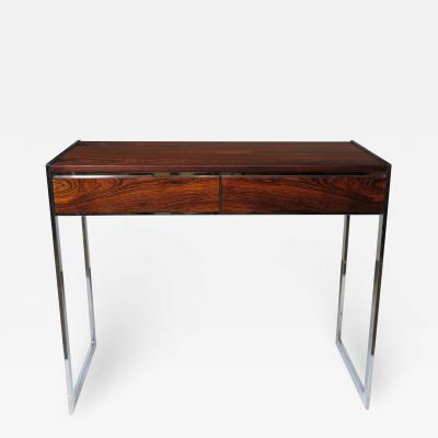 Milo Baughman Rosewood and Chrome Console Desk Attributed to Milo Baughman