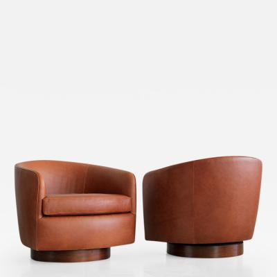 Milo Baughman Saddle Leather Swivel Chairs in the Style of Milo Baughman
