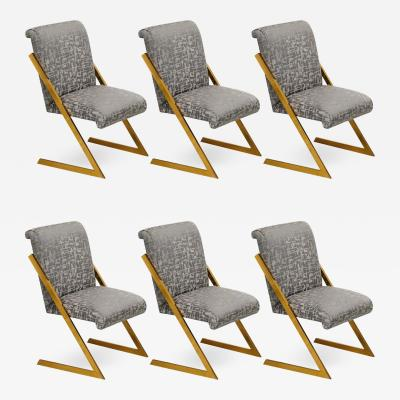 Milo Baughman Set of 6 Vintage Milo Baughman Z Dining Chairs in Polished Brass Legs