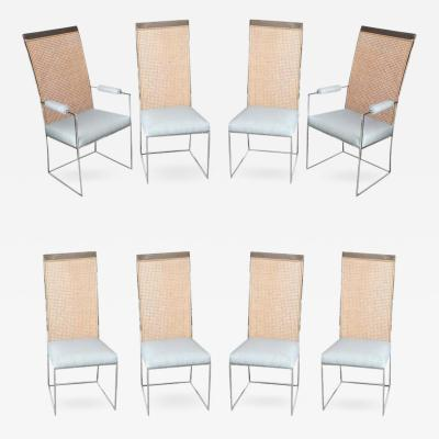 Milo Baughman Set of 8 Chrome and Cane Back Mid Century Modern Dining Chairs