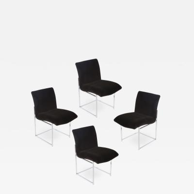 Milo Baughman Set of Four Chrome and Mohair Dining Chairs by Milo Baughman Circa 1970s