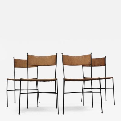 Milo Baughman Set of Four Iron and Rush Chairs by Milo Baughman for Murray Furniture