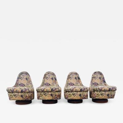 Milo Baughman Set of Four Milo Baughman Petite Swivel and Tilt Lounge Chairs