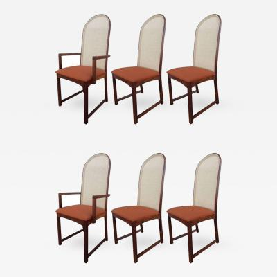 Milo Baughman Set of Six Caned Back Dining Chairs by Milo Baughman